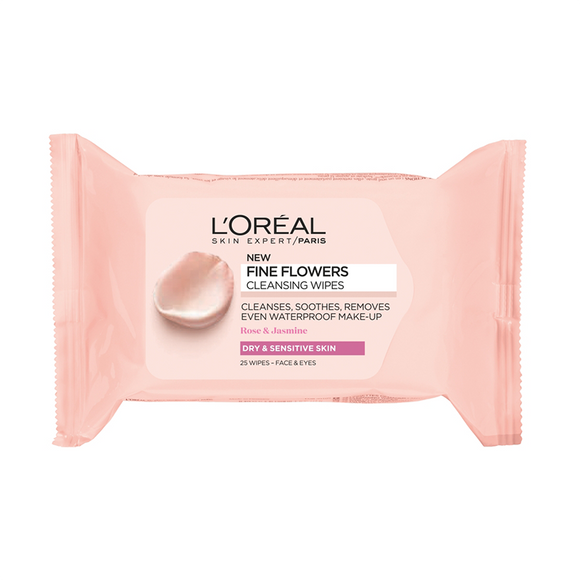 L'Oréal Paris Fine Flowers Cleansing Wipes Dry and Sensitive Skin 25 Wipes