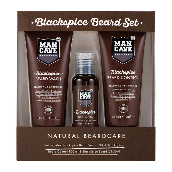 ManCave BlackSpice 3 Piece Beard Set