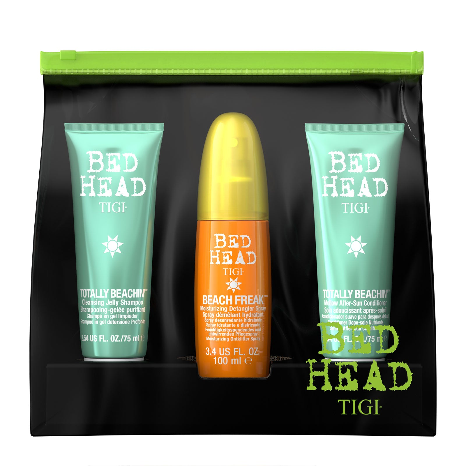 Bed Head by Tigi Travel Shampoo Conditioner Detangler Spray Toiletry Bag Set