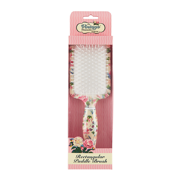 The Vintage Cosmetic Company Rectangular Paddle Hair Brush Floral