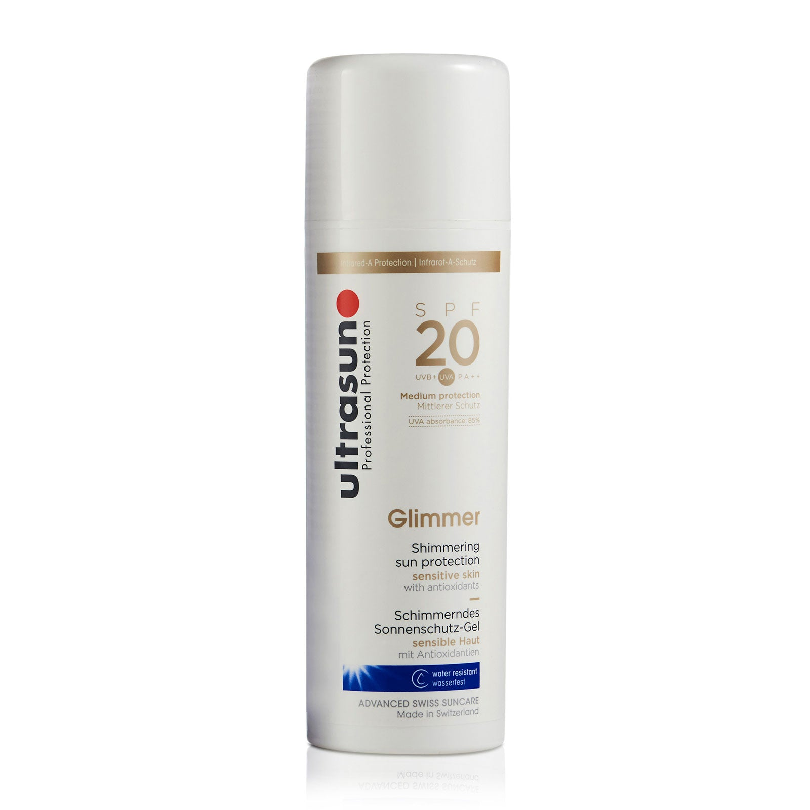 Ultrasun Sensitive Medium SPF20 Glimmer Formula 150ml