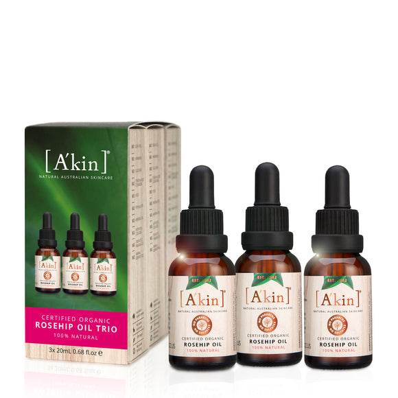 A'kin Certified Organic Rosehip Oil 20ml Trio - Limited Edition
