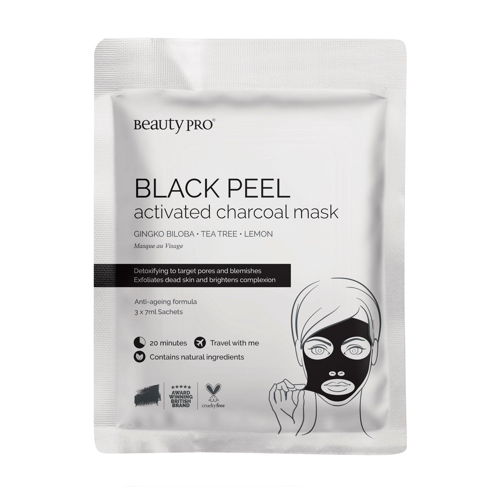 BeautyPro Black Peel Charcoal Mask 3 x 7g