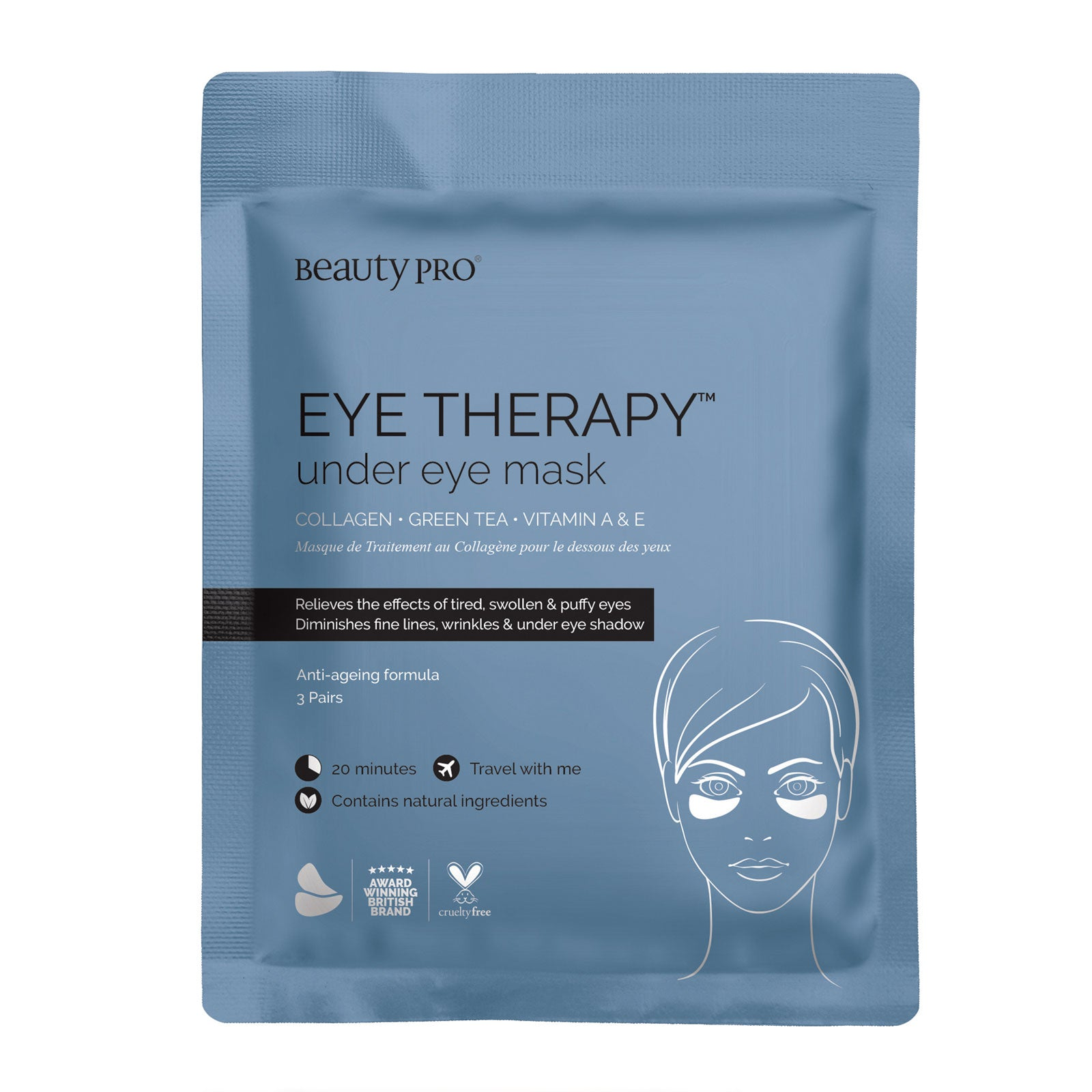 BeautyPro EYE THERAPY Collagen Under Eye Mask with Green Tea Extract 3 x 3.5g