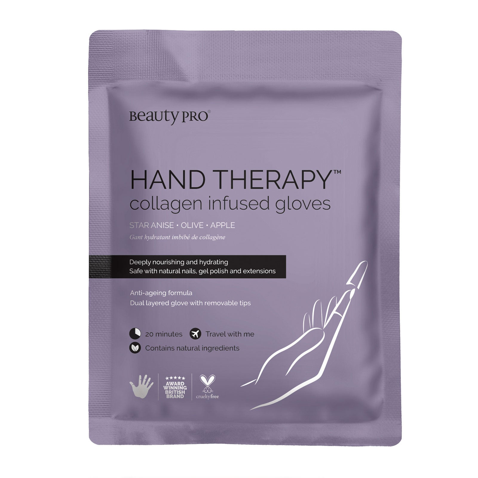 BeautyPro HAND THERAPY Collagen Infused Glove with Removable Fingertips 17g