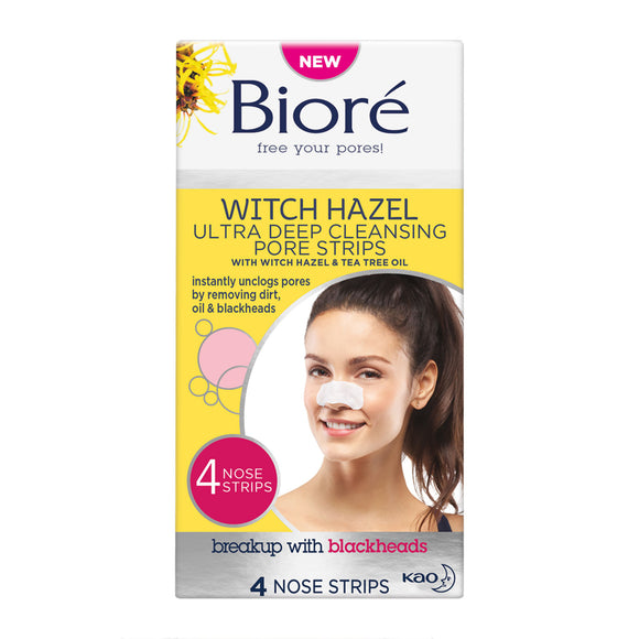 Biore Witch Hazel Ultra Deep Cleansing Pore Strips For Spot Prone Skin x 4