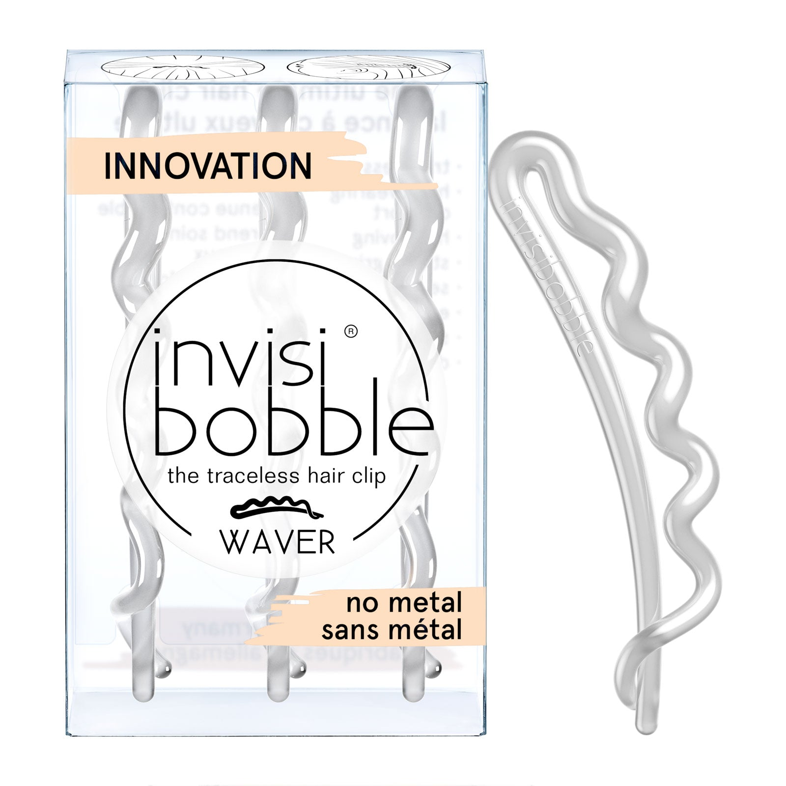 invisibobble Slide-Lock Hair Clip 3 Pack WAVER Crystal Clear