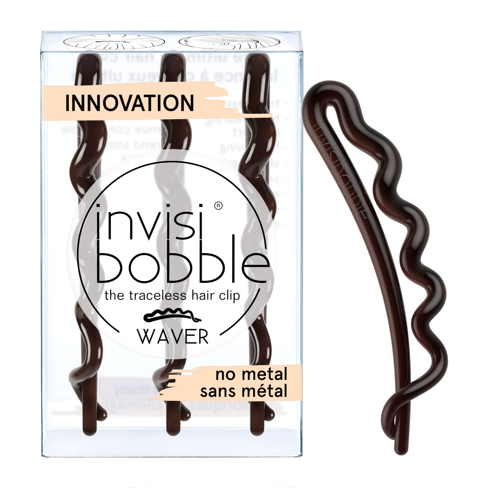 invisibobble Slide-Lock Hair Clip 3 Pack WAVER Pretty Dark