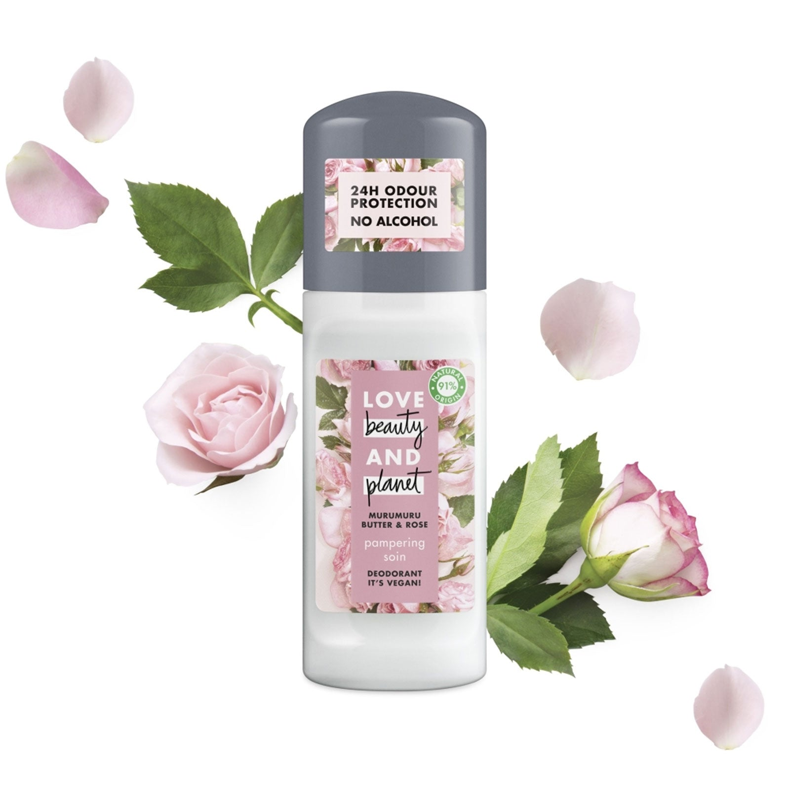 Love Beauty and Planet Murumuru Butter & Rose Pampering Roll-On Deodorant 50ml