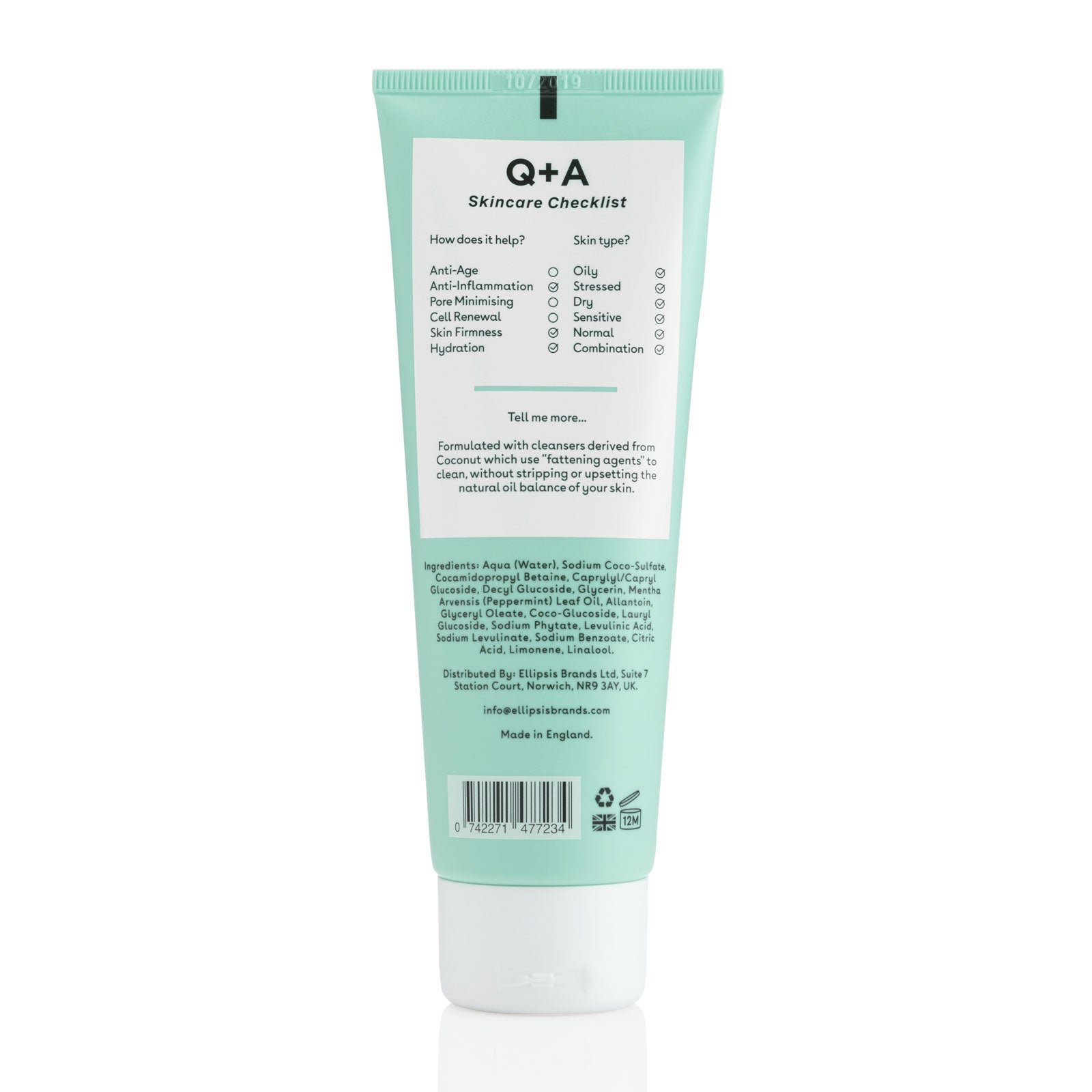 Q+A Peppermint Daily Cleanser 125ml