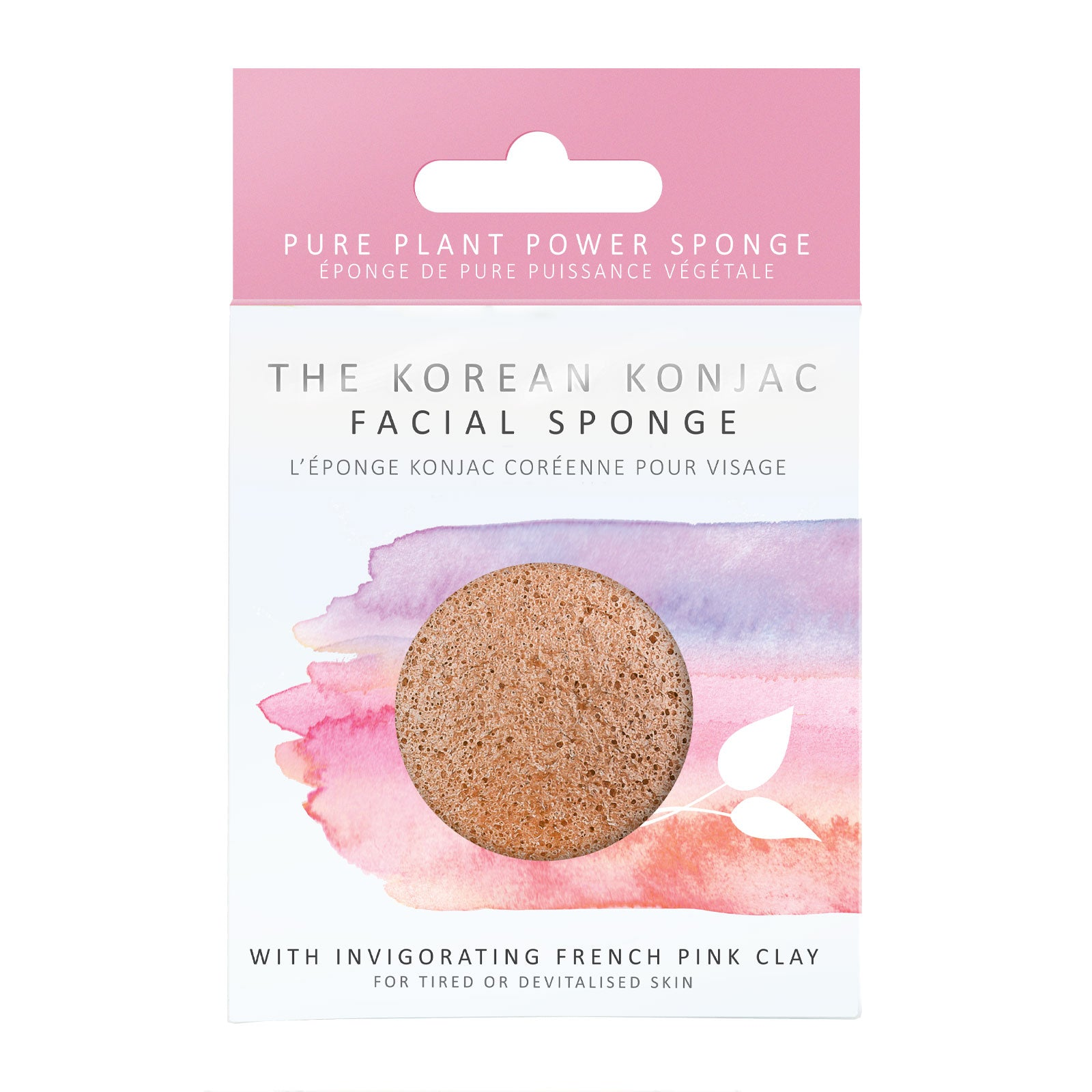 The Konjac Sponge Company 100% Natural Vegetable Fibre Sponge with French Pink Clay