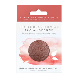 The Konjac Sponge Company 100% Natural Vegetable Fibre Sponge with French Red Clay