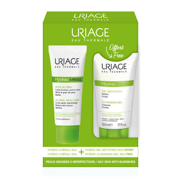 Uriage Hyséac 3-Régul Global Skin Care 40ml + Cleansing Gel 50ml