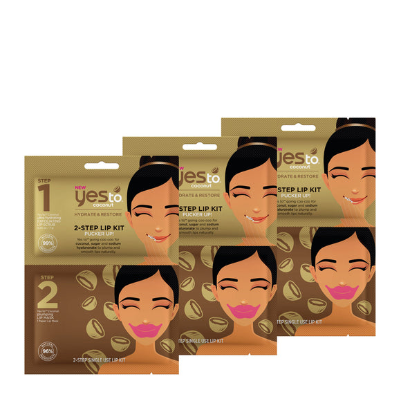 Yes To Coconut 2-Step Lip Kit Bundle 3 Pack