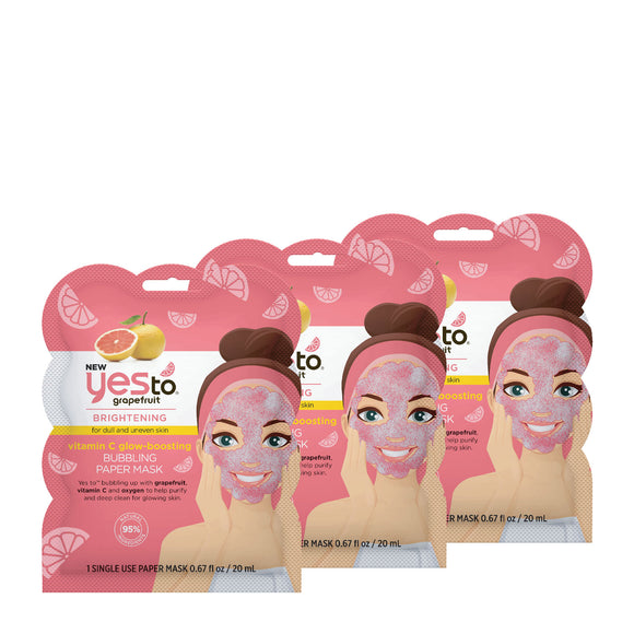 Yes To Grapefruit Bubbling Paper Mask 3 Pack