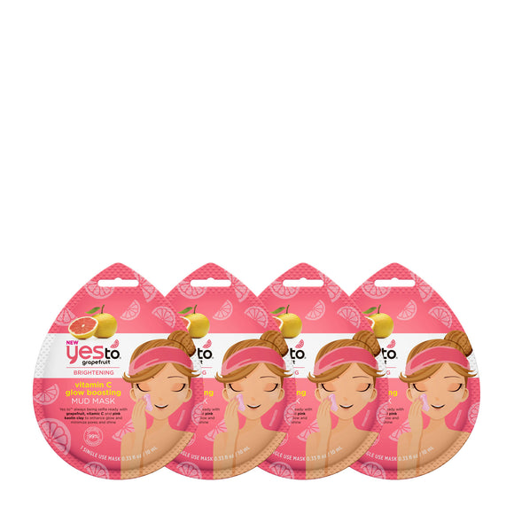 Yes To Grapefruit Vitamin C Boosting Mud Mask 4 Pack