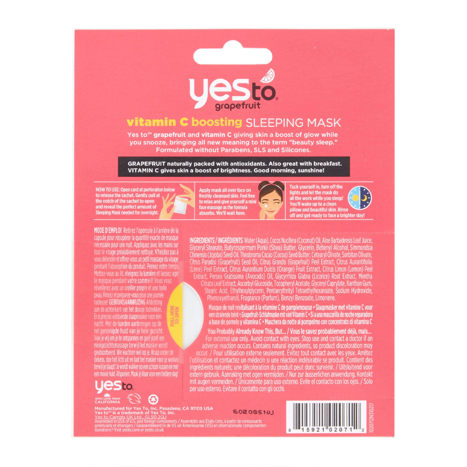 Yes To Grapefruit Vitamin C Boosting Sleeping Mask 4 Pack