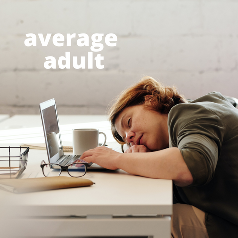 Women sleeping on her desk while at work with a cup of coffee. 2 words over her head that read average adult. She is overworked, tired, fatigued, coffee addiction, adrenal fatigue.