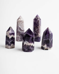 "2"" Amethyst Chevron Pointed Crystals Towers 