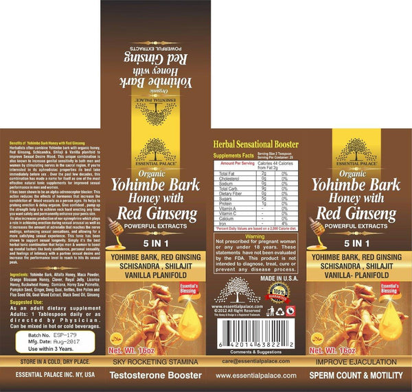 Organic Yohimbi Bark honey with Red Ginseng ( 5 IN 1 ) - Life Gardening Tools LLC