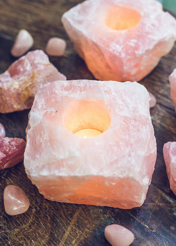 "3"" Rose Quartz Rough Candle Holder 