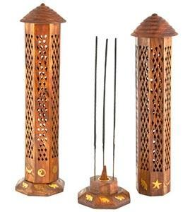 "Tower Wooden Incense Burner 12"" Tall - Life Gardening Tools LLC"