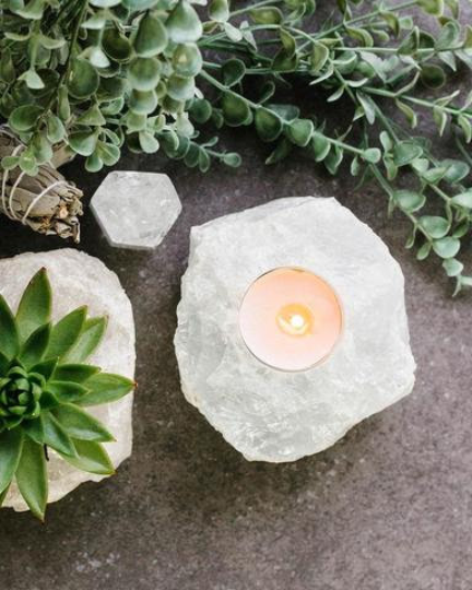 "3"" Rough Clear Quartz Candle Holder 