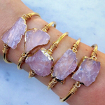 Rose Quartz Gold Plated Cuff Wire Wrapped Bracelet - Life Gardening Tools LLC