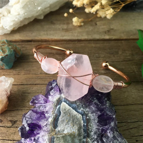 Handmade Rose Quartz Copper Cuff wire wrapped bracelet - Life Gardening Tools LLC