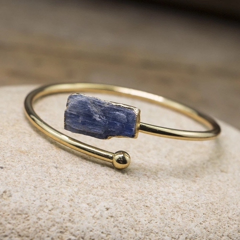 Kyanite Gold Plated Cuff bracelet - Life Gardening Tools LLC