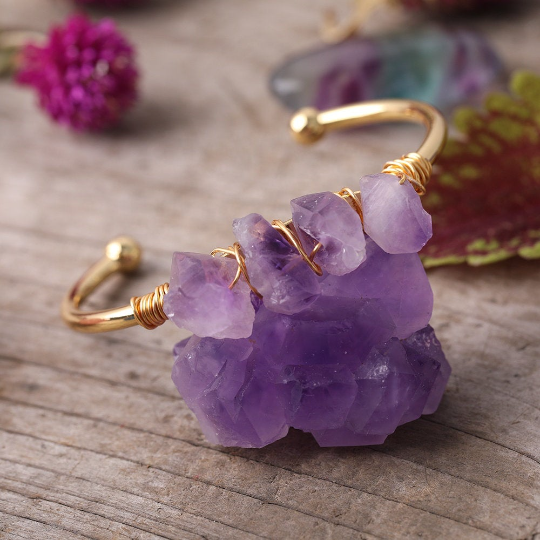 Amethyst Gold Plated Copper Bracelet - Life Gardening Tools LLC