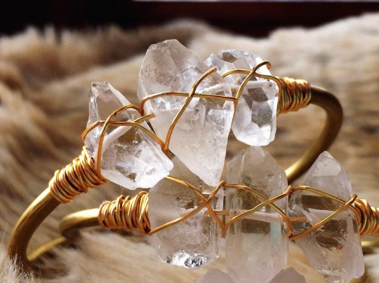 Quartz gold plated brass wire wrapped cuff bracelet - Life Gardening Tools LLC