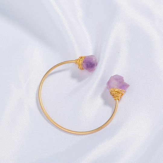 Amethyst Chip Stone wire wrapped handmade bangle bracelet - Life Gardening Tools LLC