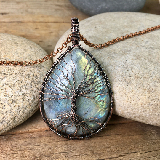 Labradorite Copper Tree of Life Pendant Necklace - Life Gardening Tools LLC