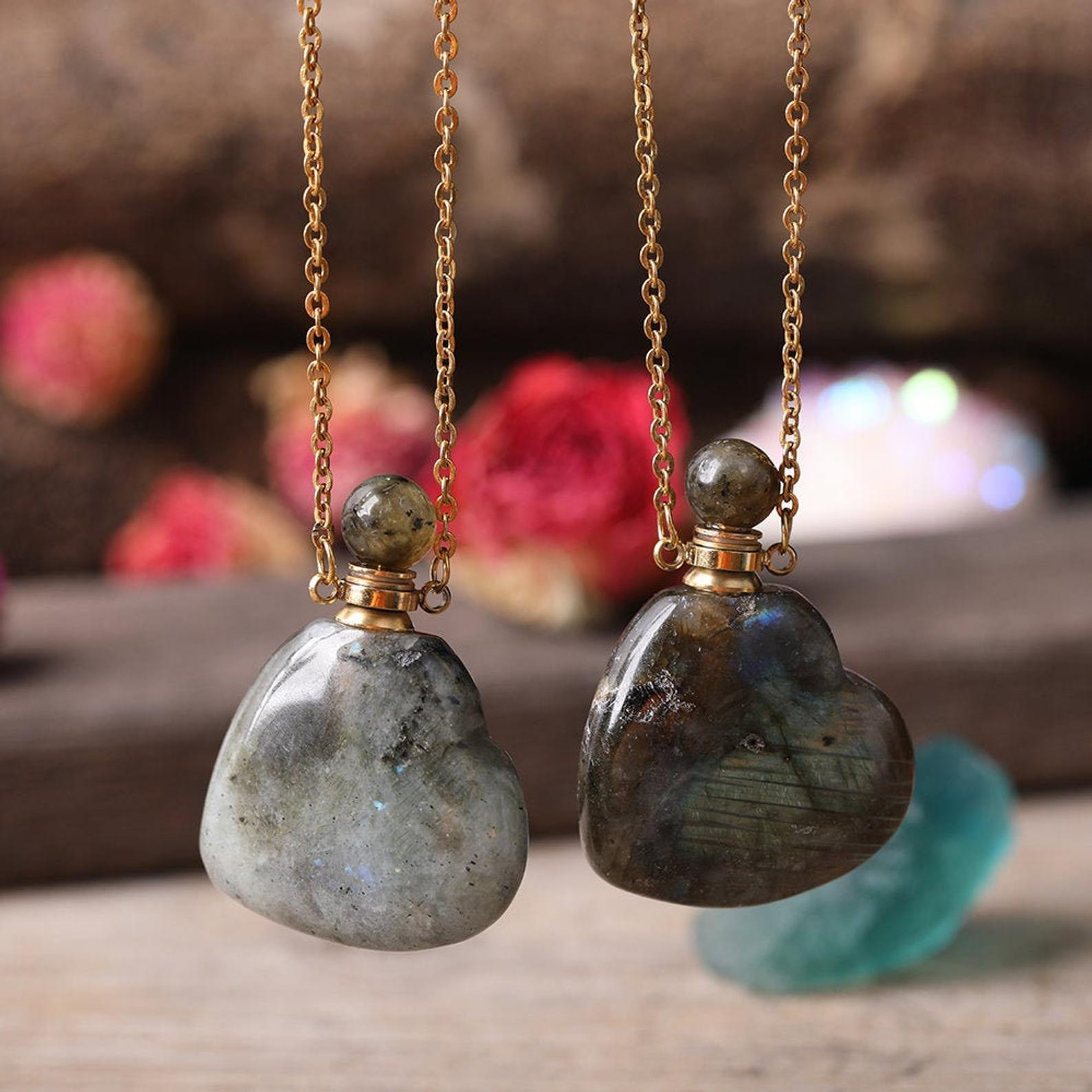 Labradorite Heart Crystal Potion Necklace (with dropper) - Throat Chakra - Life Gardening Tools LLC