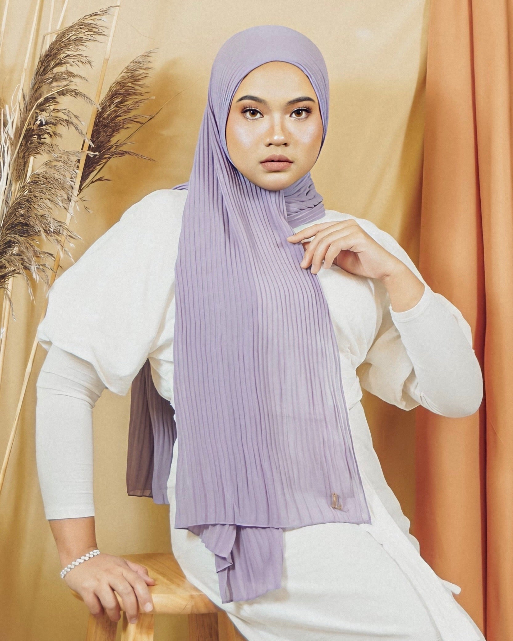 Cik Kiah Semi-Pleated in Thistle