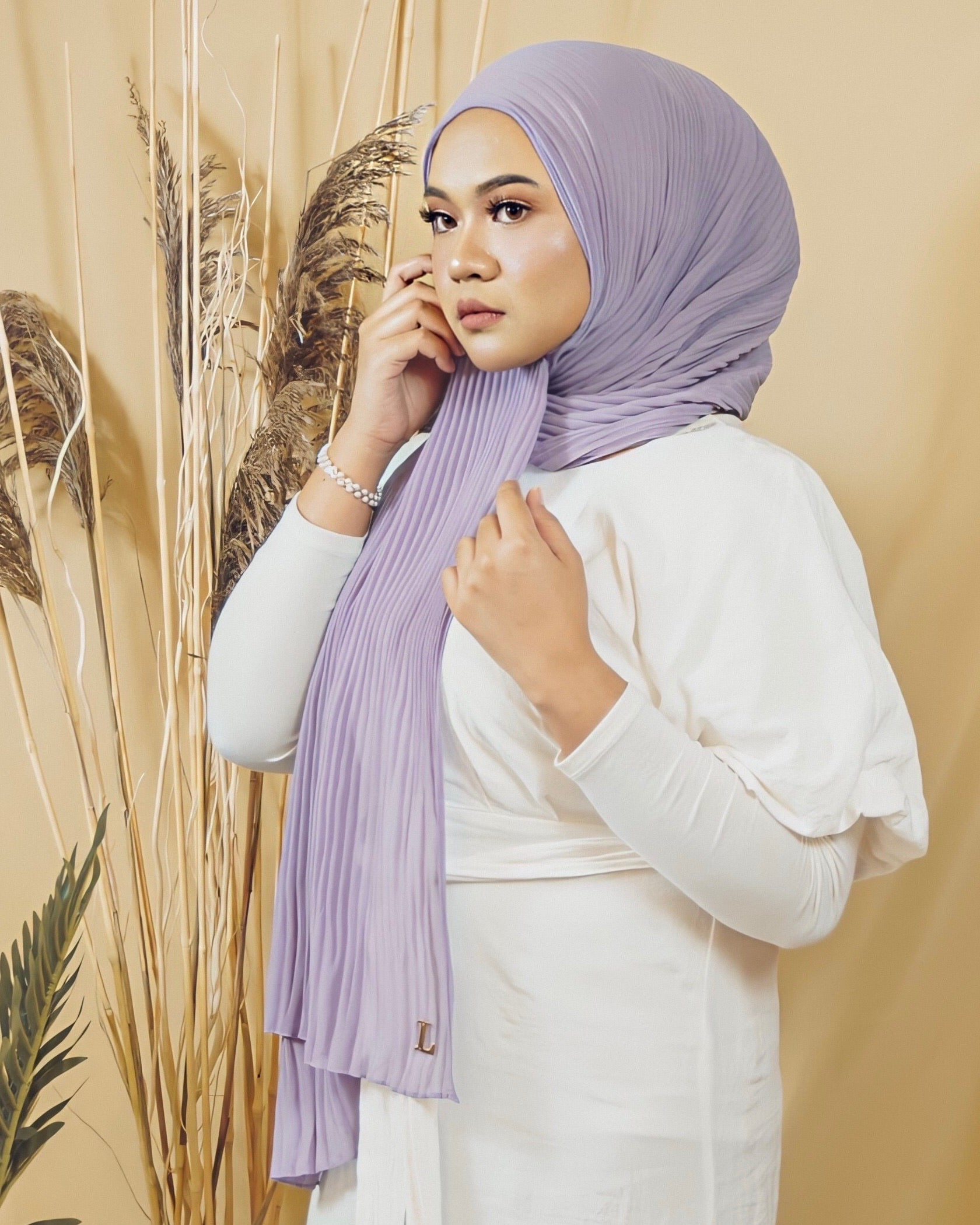 Cik Kiah Semi-Pleated in Thistle - Defect