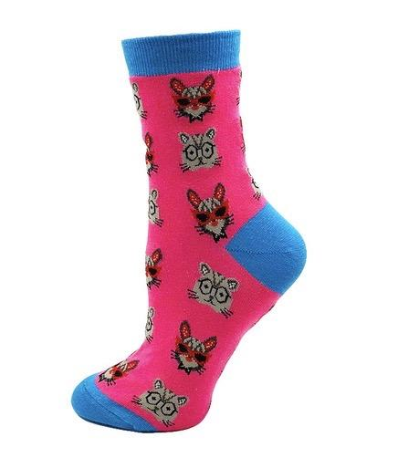 CAT With Glasses Women's Fun Crew Socks