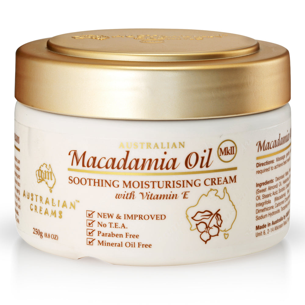 Macadamia Oil Cream (hydrates and nourishes skin)