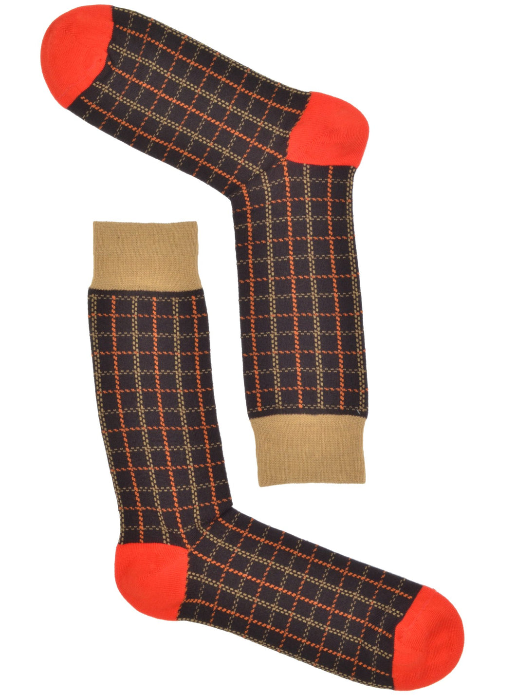 Brown & Orange Grid Socks