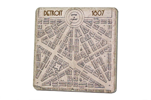 Vintage 1807 Detroit Map Coaster