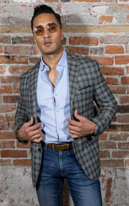 Green plaid sport coat. Two button jacket, slim fitting