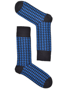 Blue Mini Houndstooth Socks