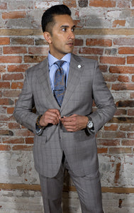 taupe glen plaid two button suit. wide notch lapel, with ticket pocket. Flat front pants. 100% WOOL, Super 120's
