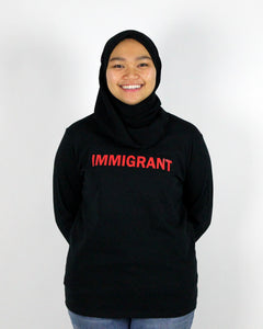 IMMIGRANT Women long sleeves heavy cotton T-shirt black