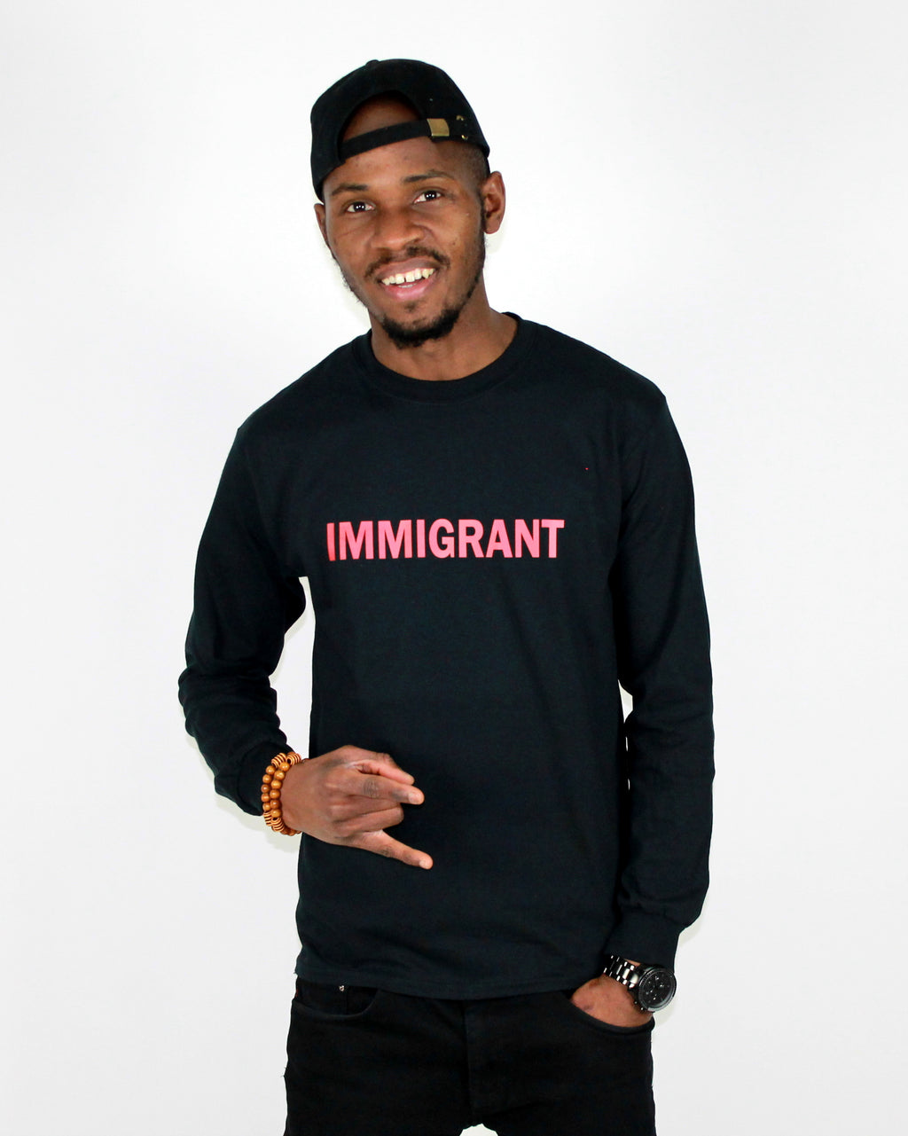 IMMIGRANT Men long sleeves heavy cotton T-shirt black