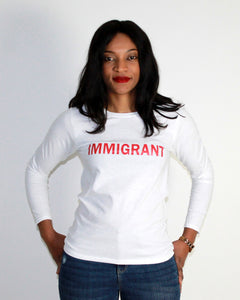 IMMIGRANT Women long sleeves heavy cotton T-shirt white