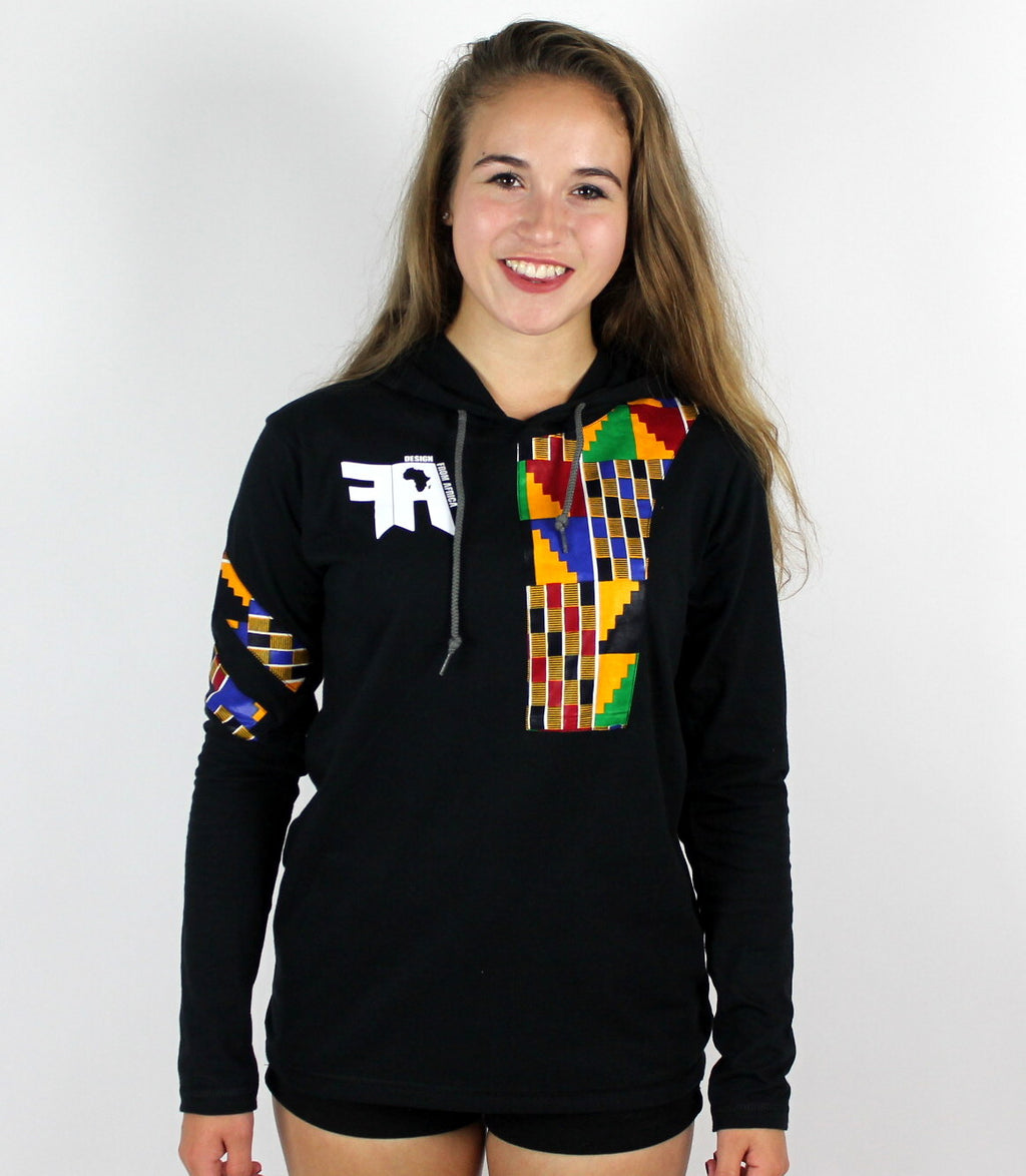 Kente Women Long Sleeves T-shirt witha hood; Discount Code: BLACKFRIDAY20