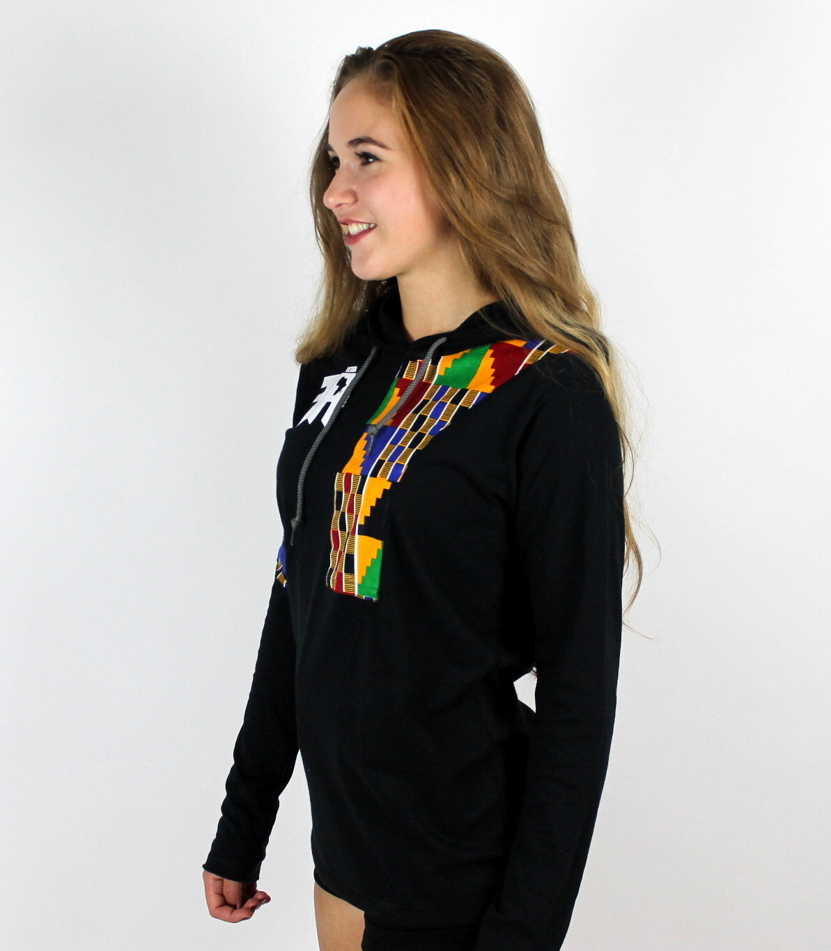 Kente Women Long Sleeves T-shirt with a hood