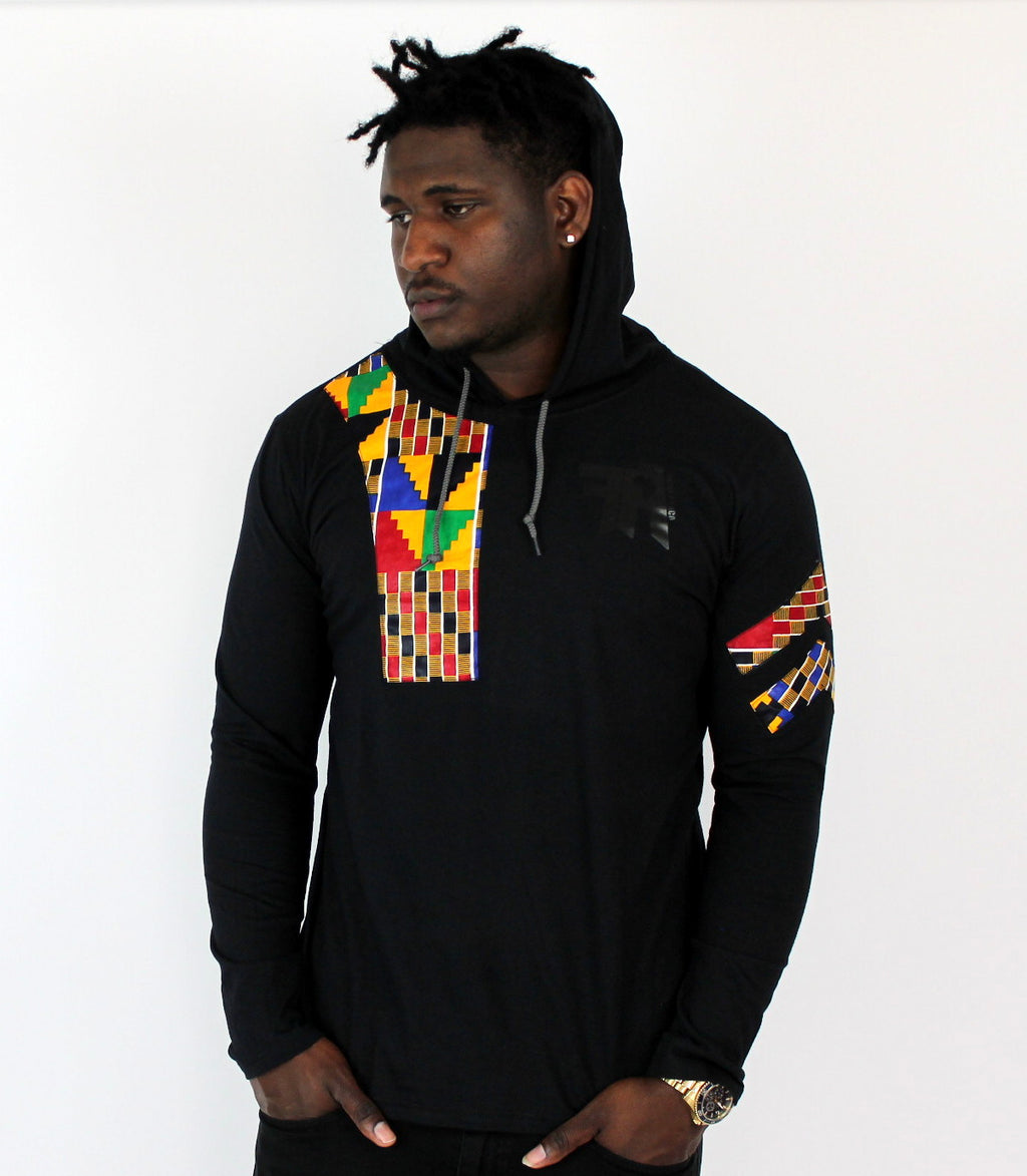 Kente Men Long Sleeves T-shirt with a hood